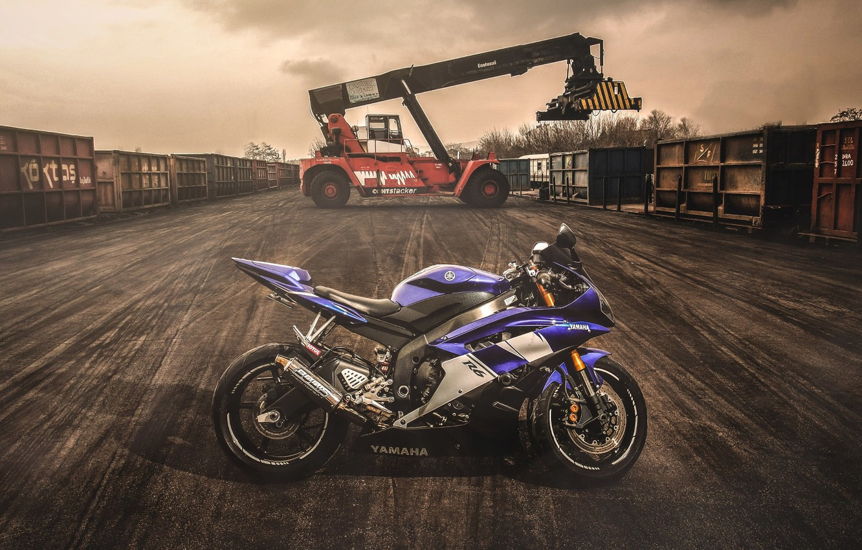 Photo wallpaper Moto, the evening, container, Motorcycle, Yamaha, sportbike, Yamaha R6, loader, Yamaha R6