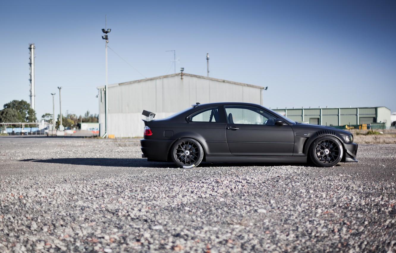 Photo wallpaper black, tuning, BMW, BMW, profile, black, E46