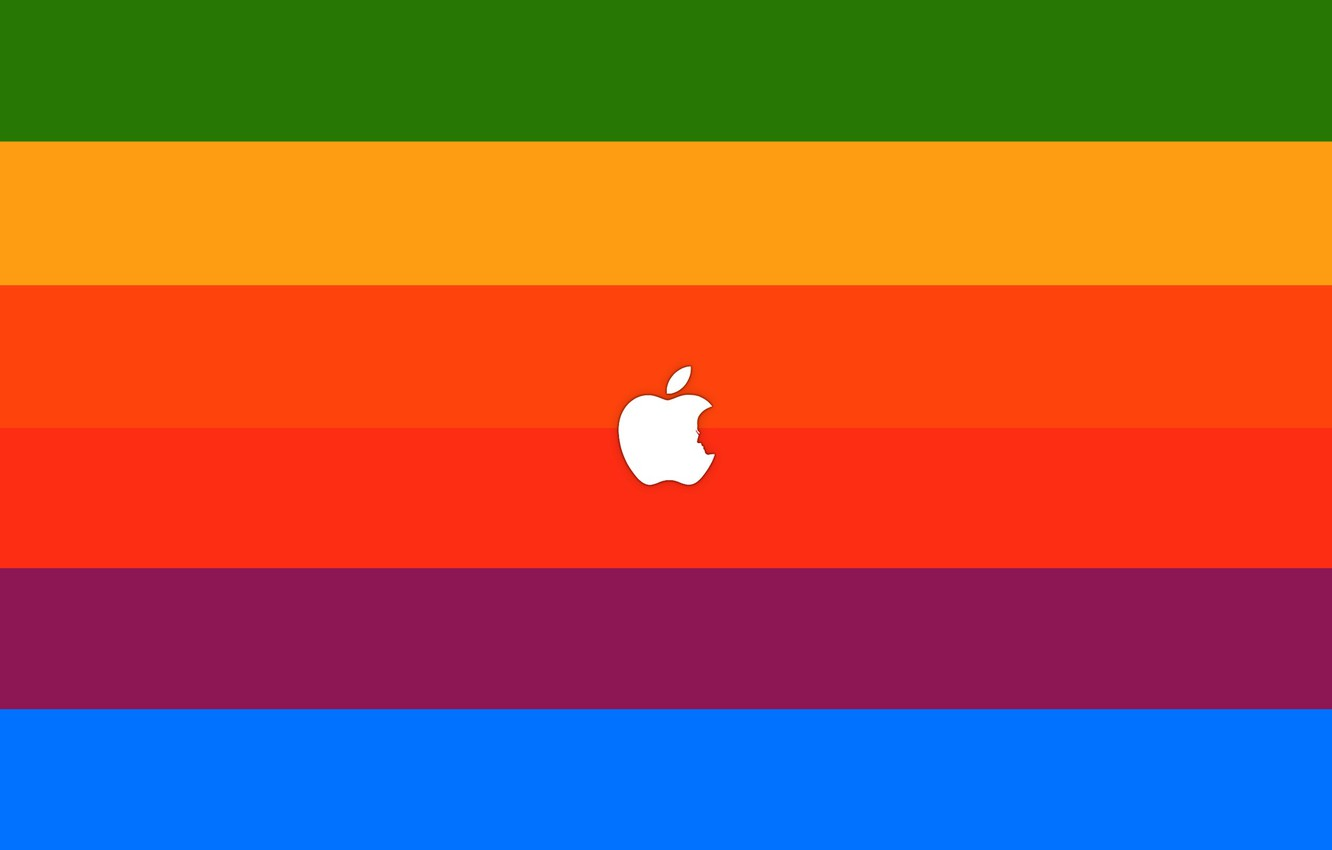 Photo wallpaper sign, paint, apple, minimalism, colors, logo, logo, minimalism, sign, brand, brand, 2560x1600, steve jobs