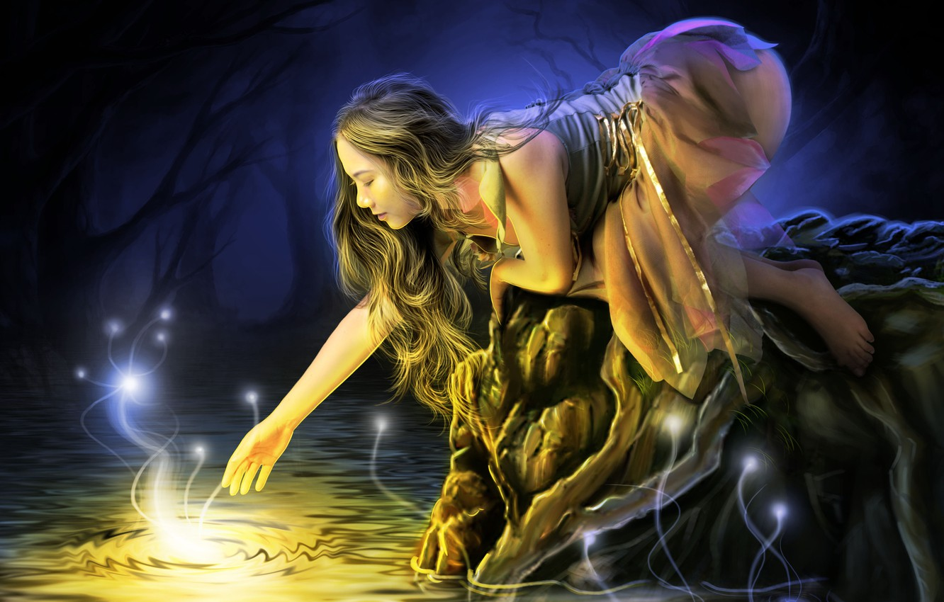 Photo wallpaper water, girl, light, trees, face, lights, dress, profile, long hair, stretches
