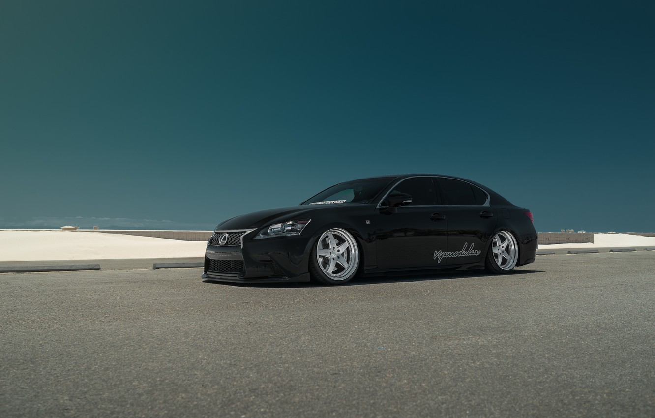 Photo wallpaper car, Lexus, black, tuning, low, stance, GS430, VIP Modular