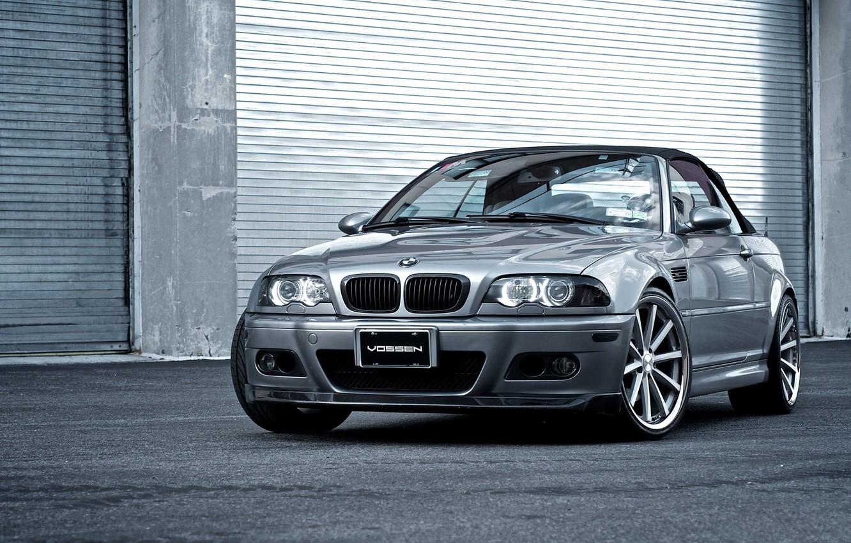 Photo wallpaper BMW, silver, BMW, convertible, E46, the front part, silvery, Cabrio