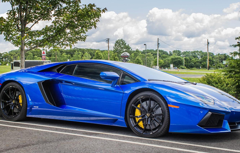 Photo wallpaper Lamborghini, side, blue, view, parking, aventador