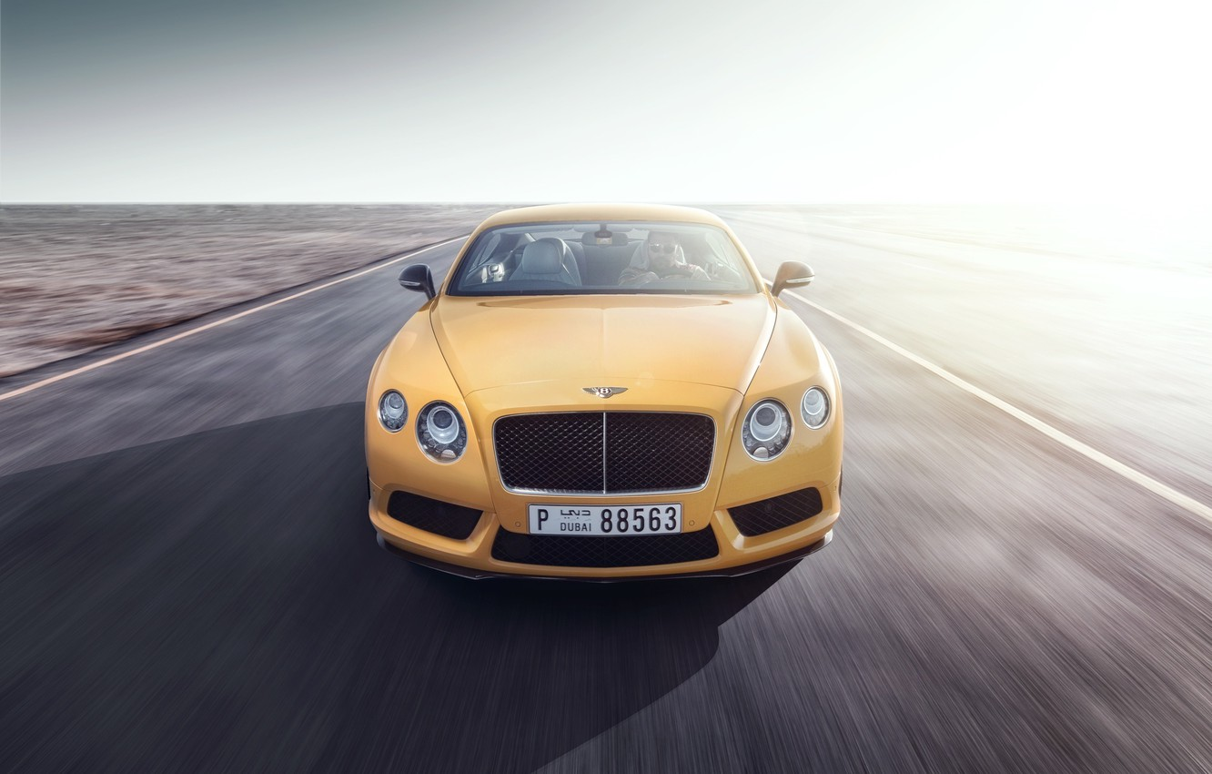Photo wallpaper Bentley, Continental, Car, Speed, Front, Yellow, Road