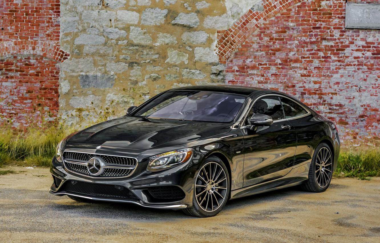 Photo wallpaper wall, black, Mercedes-Benz, Mercedes, AMG, Black, AMG, 2014, S 550, S-Class, C217