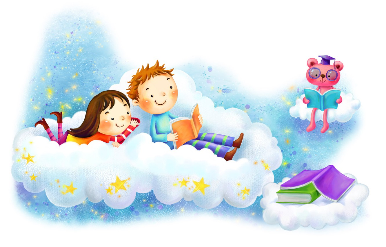 Photo wallpaper fantasy, figure, stars, boy, cloud, girl, books, smile