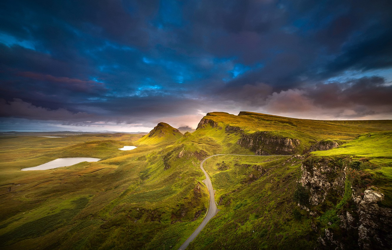 Photo wallpaper the sky, mountains, hills, Scotland, Isle of Skye, the archipelago of the Inner Hebrides