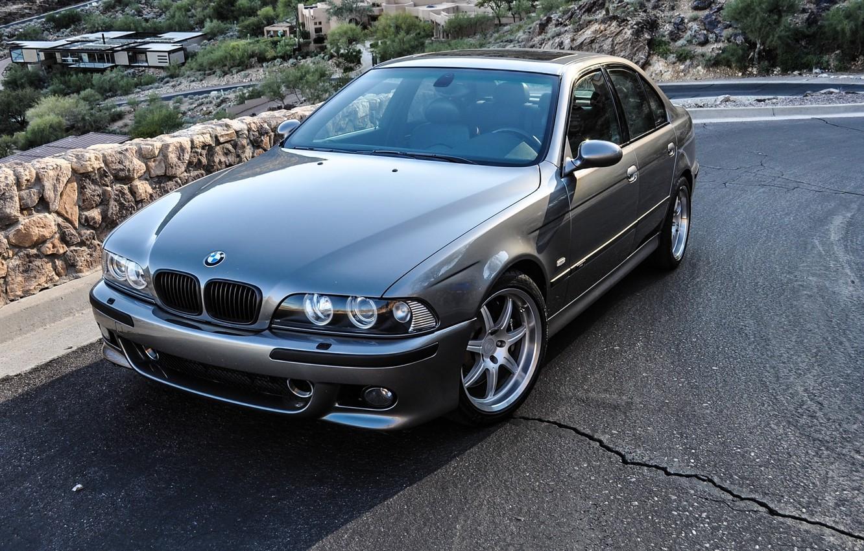 Photo wallpaper road, machine, mountains, hills, home, BMW, BMW, 2002, E39