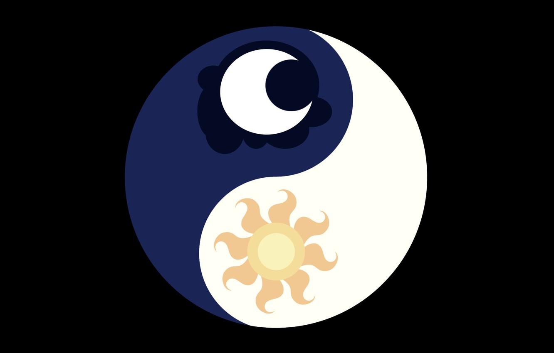 Photo wallpaper the sun, sign, Crescent, Yin - Yang