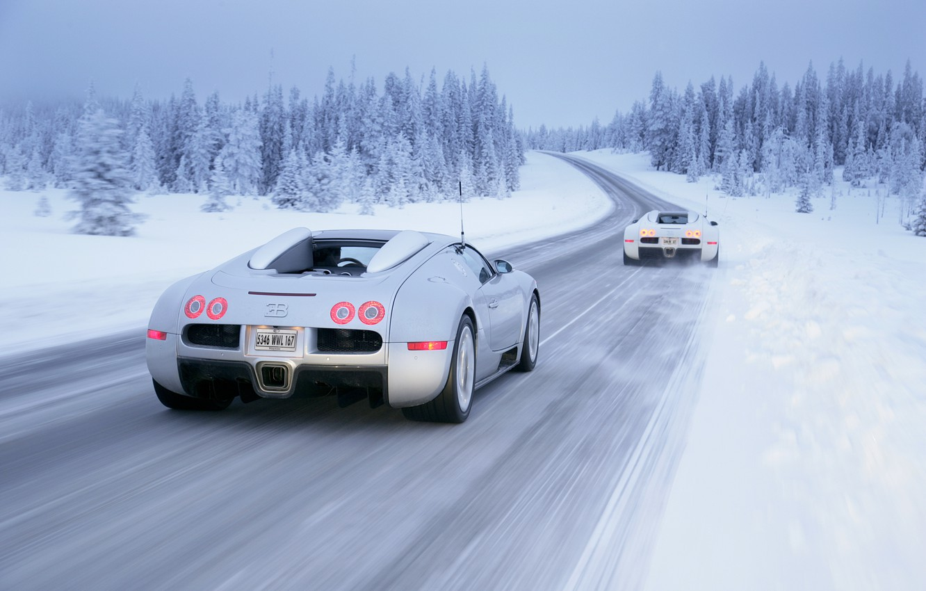 Photo wallpaper winter, snow, Bugatti, Veyron, Winter, White, Drive