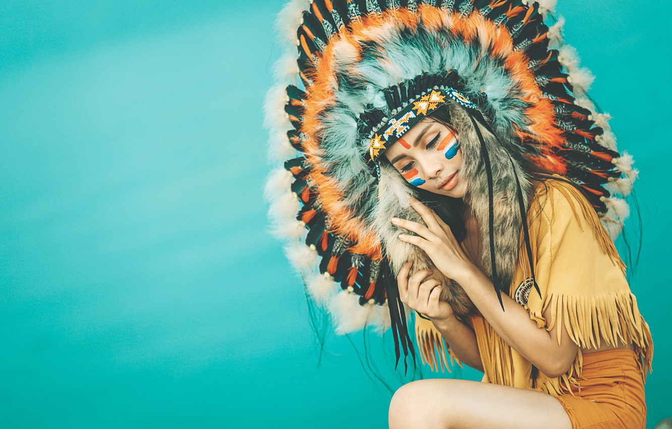 Photo wallpaper girl, face, style, background, clothing, feathers, paint, headdress
