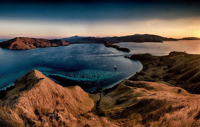 Photo wallpaper sea, grass, sunset, hills