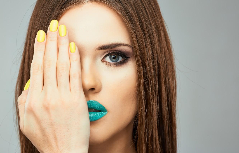 Photo wallpaper look, girl, model, hand, makeup, lipstick, manicure