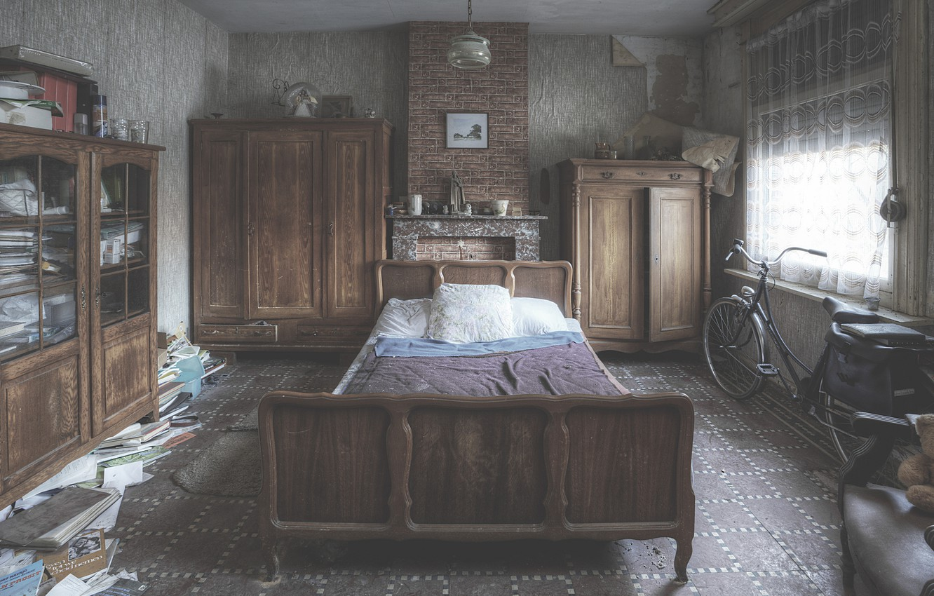 Photo wallpaper bike, house, Windows, curtains, mess, bedroom, sunlight
