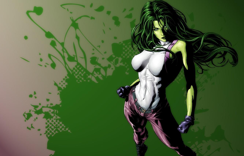 Photo wallpaper green, girl, art, Comics, She Hulk