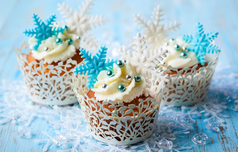 Photo wallpaper winter, snowflakes, food, cake, cake, cream, dessert, food, winter, sweet, sweet, cupcake, cupcakes, cream, dessert, …