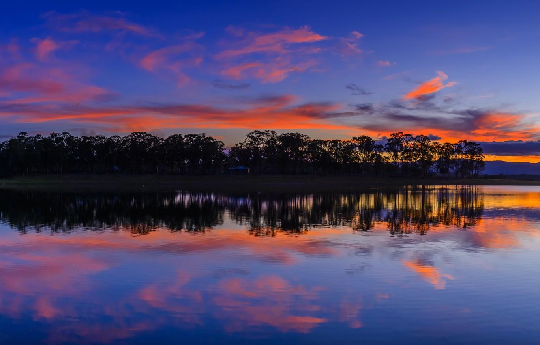 Photo wallpaper trees, sunset, lake, reflection, Australia, Australia, Queensland, QLD, Lake Samsonvale, Joyner