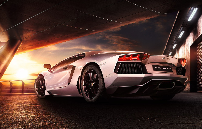 Photo wallpaper Lamborghini, Sky, Sunset, Beauty, LP700-4, Aventador, Supercar, Reflection, Rear