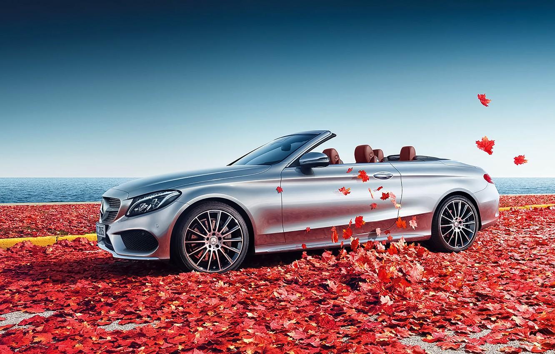 Photo wallpaper Mercedes-Benz, Car, Front, C Class, Cabrio, Sea, Leaves