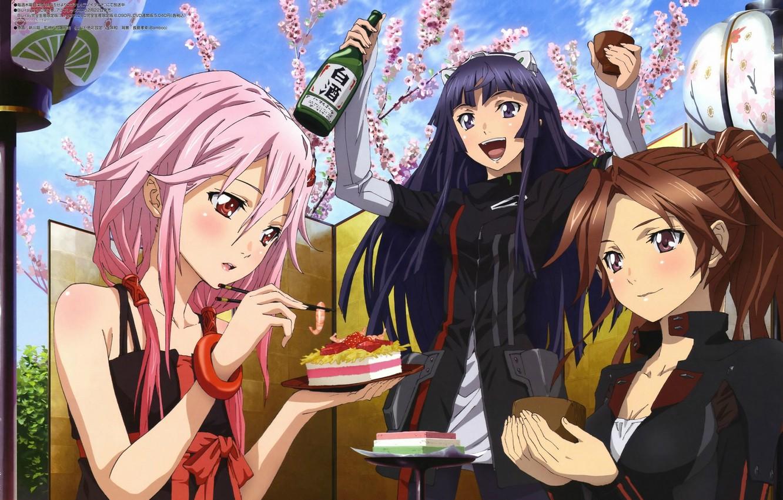Photo wallpaper joy, Sakura, blush, flowering, booze, friend, guilty crown, pink hair, inori yuzuriha, appetizer, three girls, …