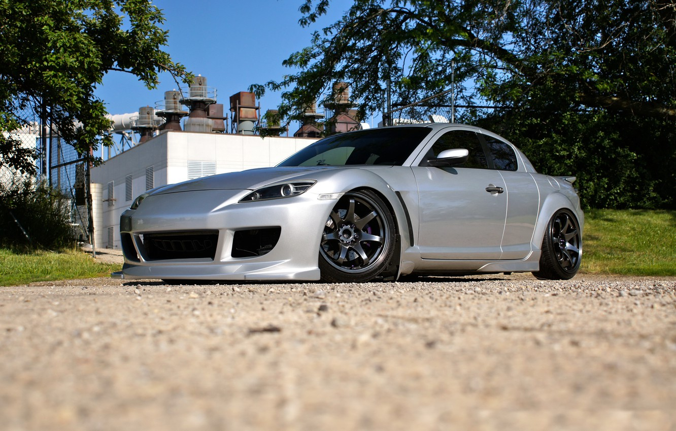 Photo wallpaper silver, wheels, black, road, mazda, rx-8