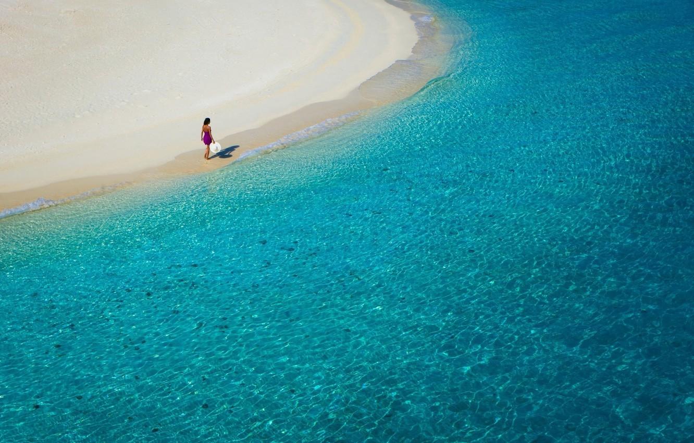 Photo wallpaper sea, beach, summer, water, girl, stay, coast
