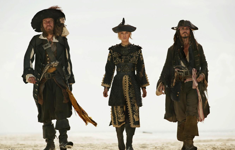 Photo wallpaper Jack Sparrow, Pirates of the Caribbean, Elizabeth Swann, Hector Barbossa