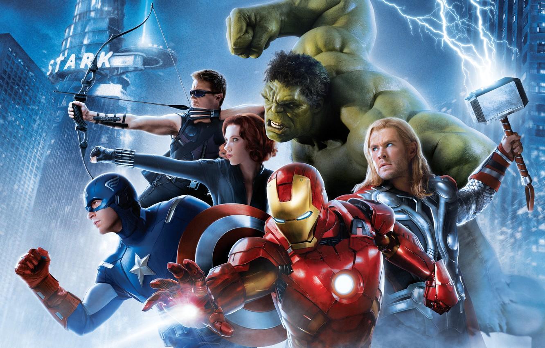 Photo wallpaper Scarlett Johansson, Girl, Heroes, Hulk, Iron Man, Wallpaper, Bruce, Captain America, Team, Thor, Black Widow, ...