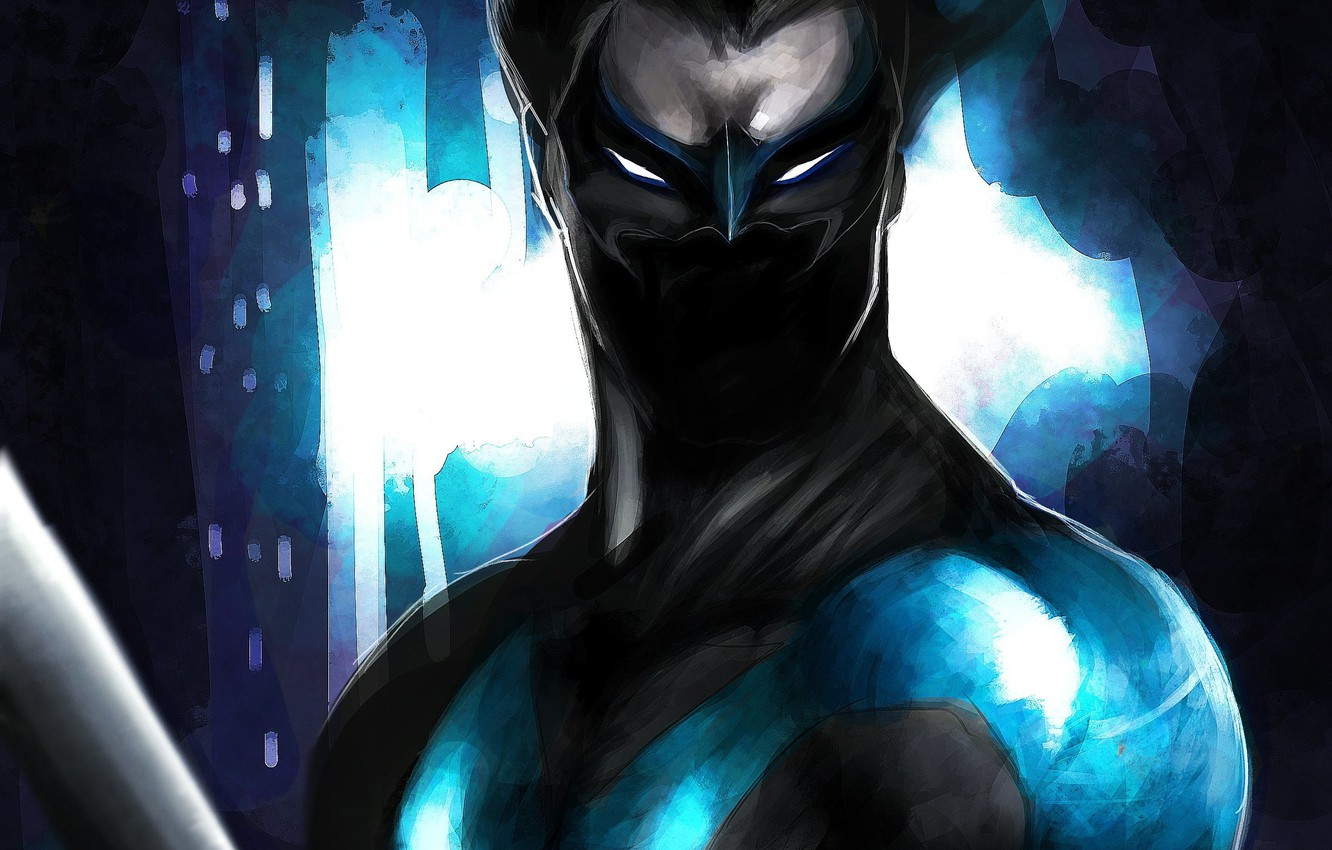 Photo wallpaper look, weapons, mask, art, costume, Nightwing