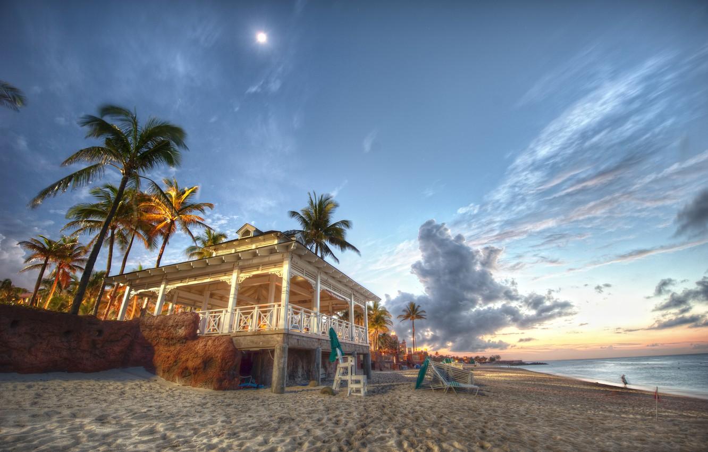 Photo wallpaper sand, sea, beach, palm trees, coast, Bahamas, pavilion, Bahamas, Bahamas, Nassau