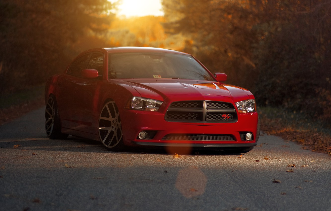 Photo wallpaper sunset, red, red, Dodge, dodge, charger, the charger, R/T