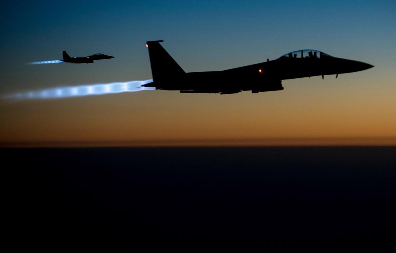 Wallpaper Lights Fighter F 15 Eagle Aircraft Bomber Flying