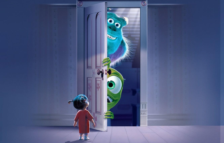 Photo wallpaper the door, Monsters.Inc, Mike Wazowski, Monsters Inc., James P. Sullivan, Mary Boo