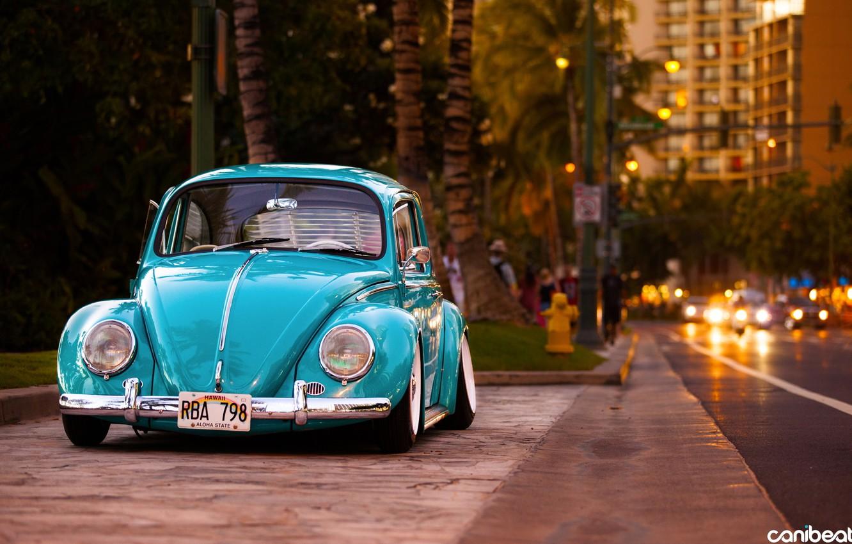 Photo wallpaper street, beetle, classic, tuning, Volkswagen, stance, Volkswagen Beetle