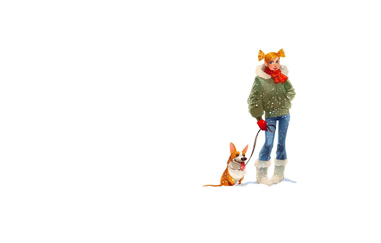 Photo wallpaper winter, girl, snowflakes, dog, scarf, tails, white