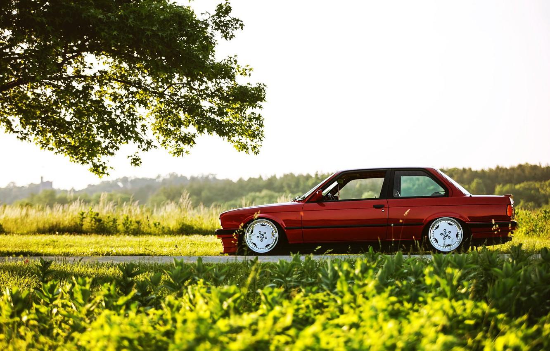 Photo wallpaper car, BMW, red, tuning, E30, 3 series, a three-pointer