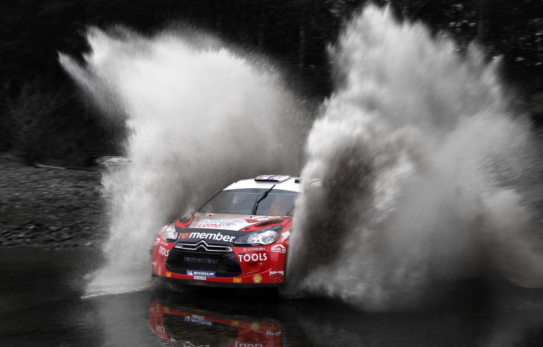 Photo wallpaper Water, Red, Auto, Sport, Machine, Speed, Race, Citroen, Citroen, Squirt, DS3, WRC, Rally, Rally, The …