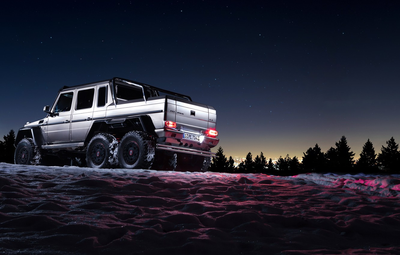 Photo wallpaper Mercedes-Benz, Beautiful, Darkness, AMG, Sun, Night, Snow, Shadow, Background, G63, 6x6, Awesome
