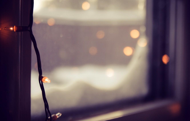 Photo wallpaper winter, glass, macro, lights, blur, window, garland, bokeh