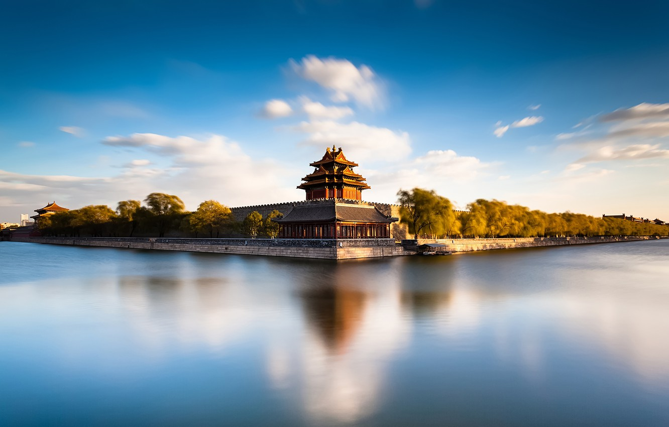 Photo wallpaper river, China, architecture, Beijing Forbidden City Moat