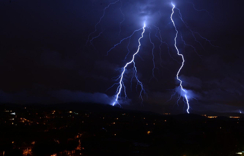 Photo wallpaper the sky, night, nature, the city, lightning