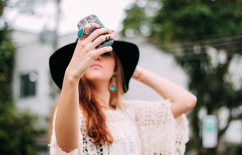 Photo wallpaper girl, pattern, hat, phone, photographs, case, selfie, selfie