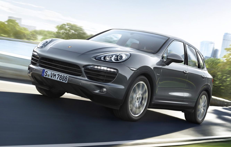 Photo wallpaper road, grey, Porsche, jeep, the front, diesel, crossover, Diesel, Cayenne S, Porsche Cayenne