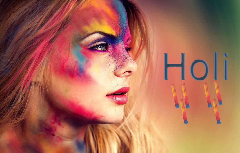 Photo wallpaper girl, face, background, paint, makeup, profile, brown hair, Colorful, closeup, Festival, festival, Holi