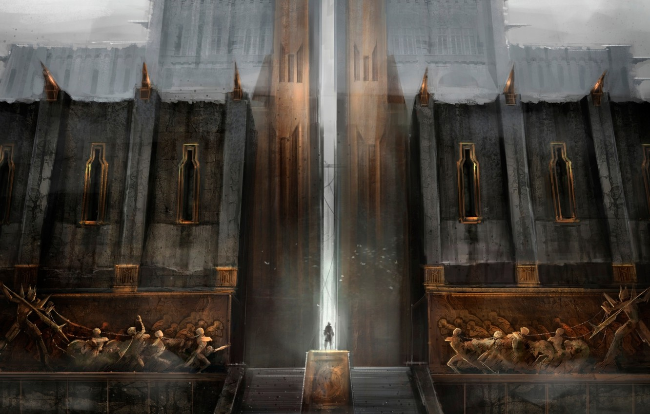 Photo wallpaper the city, people, gate, the door, ladder, haze, fortress, Dragon Age 2, Kirkwall