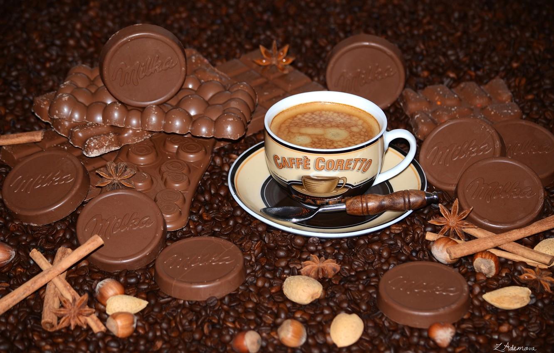 Photo wallpaper coffee, chocolate, nuts, cinnamon, coffee beans, star anise