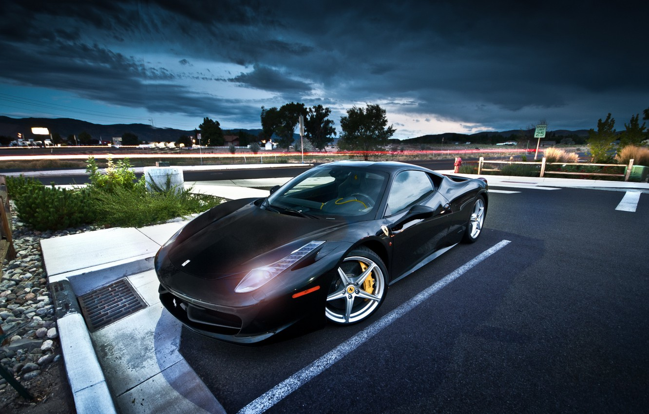 Photo wallpaper night, street, ferrari 458 italia