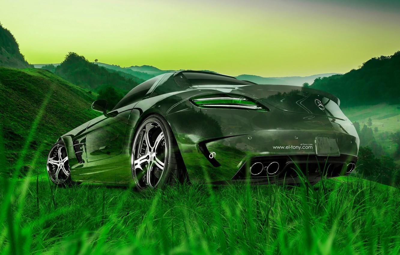 Photo wallpaper Mercedes-Benz, Nature, Auto, Grass, Machine, Mercedes, Wallpaper, Car, Nature, Grass, Art, Art, Green, Photoshop, Photoshop, ...
