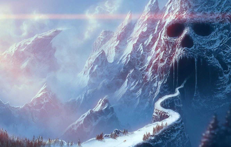 Photo wallpaper road, mountains, bridge, fantasy, skull, art, gorge, cave, the grotto