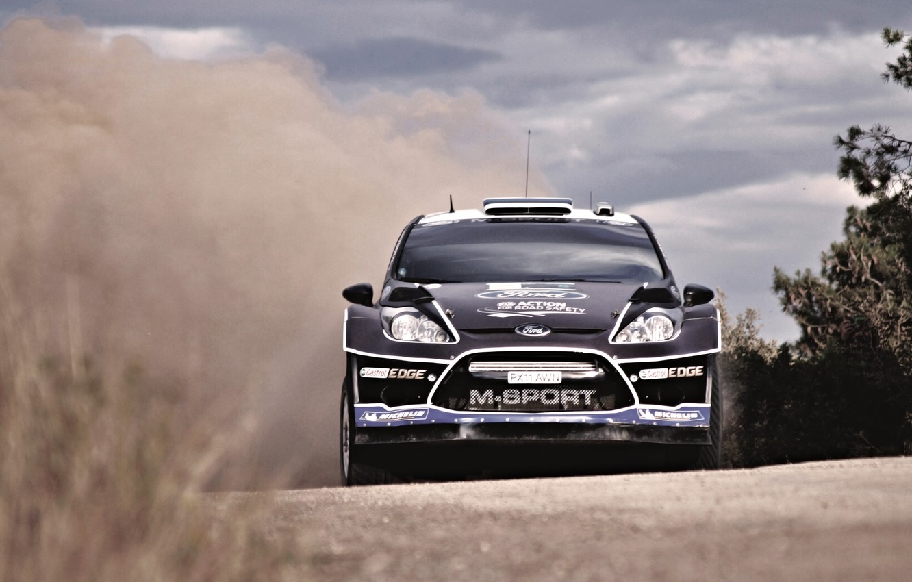 Photo wallpaper Ford, Auto, Black, Sport, Machine, Race, The hood, Skid, Lights, WRC, the front, Rally, Fiesta, …